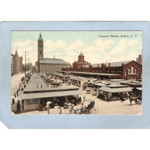 New York Buffalo Chippewa Market w/Horses & Wagons ny_box4X1~2749