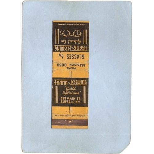 New York Buffalo Matchcover Frank & Esswing Optical Co 659 Main St Low Pho~2813