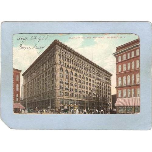New York Buffalo Ellicott Square Building Street Scene w/Trolley Car & Hor~2869