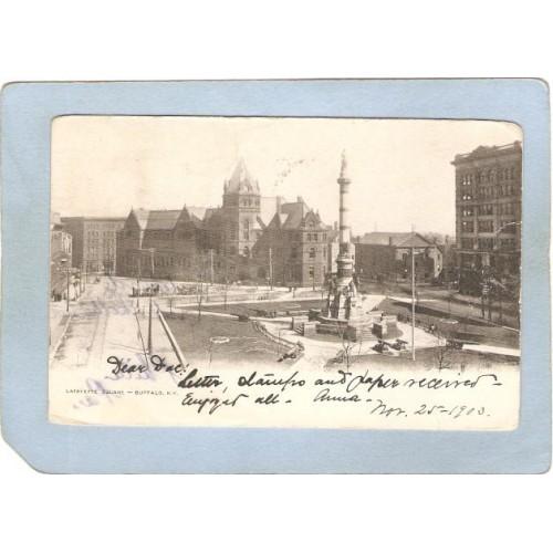 New York Buffalo Lafayette Square Street Scene w/Horses & Wagons Undivided~2877
