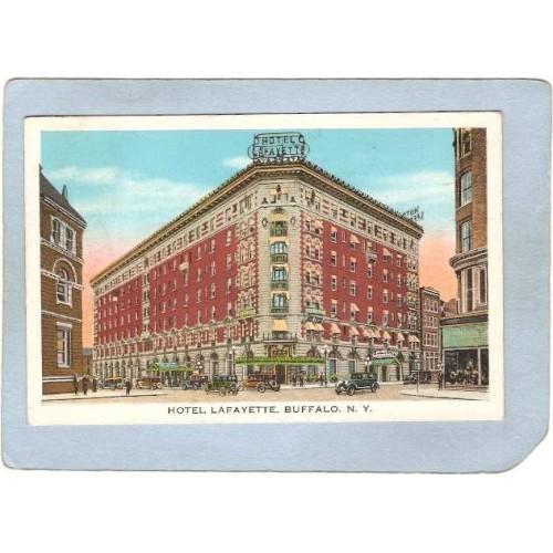 New York Buffalo Hotel Lafayette Street Scene w/Old Cars ny_box4X1~2884