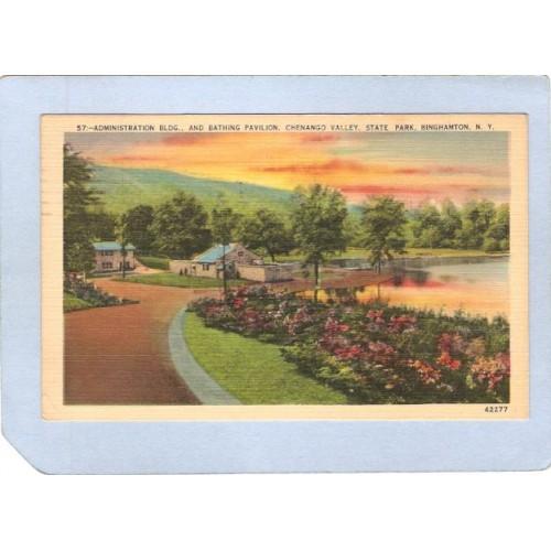New York Binghamton Administration Bldg & Bathing Pavilion Chenango Valley~519