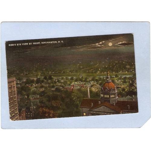 New York Binghamton Birds Eye View By Night ny_box2~532