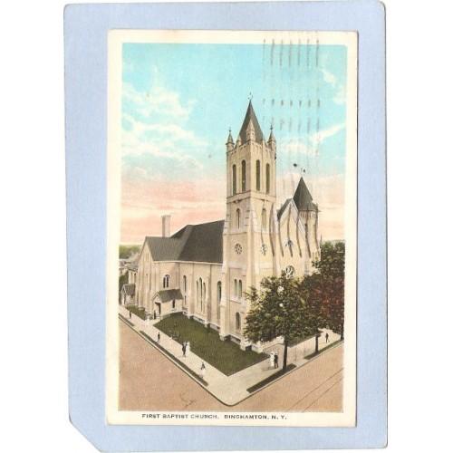 New York Binghamton First Baptist Church Street Scene Intersection w/Troll~552