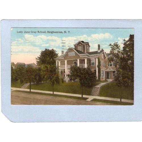 New York Binghamton Lady Jane Gray School Tree Lined Street Scene ny_box2~569