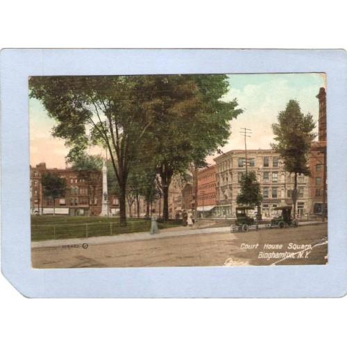 New York Binghamton Court House Square Street Scene Intersection w/Old Car~593