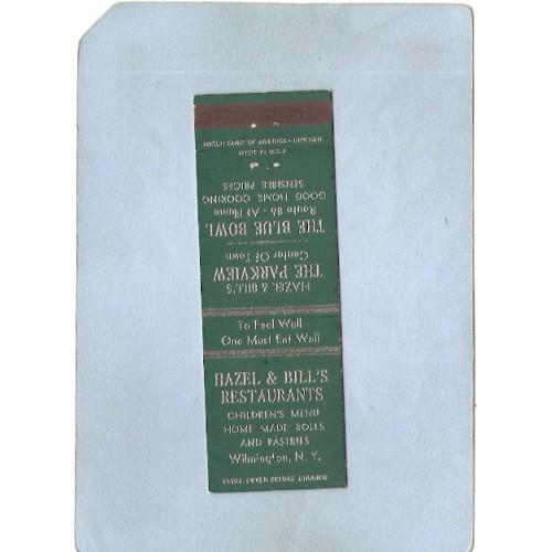 New York Wilmington Matchcover Hazel & Bill's Restaurant Also Ads For Haze~1418