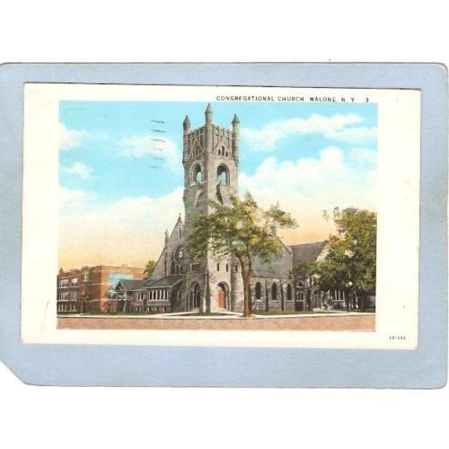New York Malone Congregational Church Street Scene Intersection ny_box5~1883