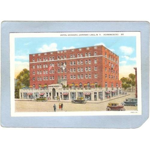 New York Saranac Lake Hotel Saranac Street Scene Intersection w/Old Cars n~1951