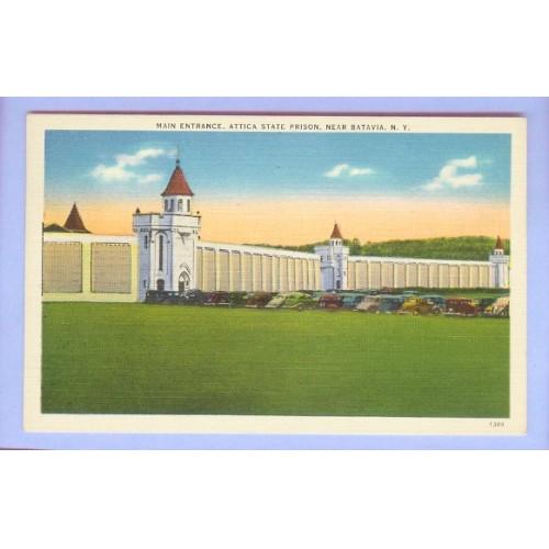New York Batavia Main Entrance Attica State Prison View High Prison walls ~71