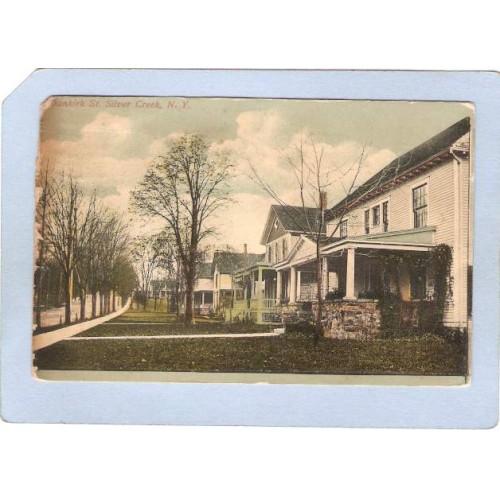 New York Silver Creek Dunkirk St Street Scene w/Old Houses ny_box3~877