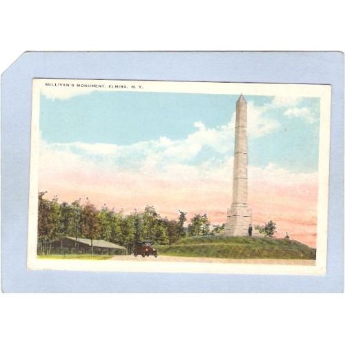 New York Elmira Sullivans Monument w/Old Car ny_box3~973