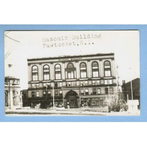 RI Pawtucket Masonic Building Real Photo Post Card View Large Old Masonic ~1171