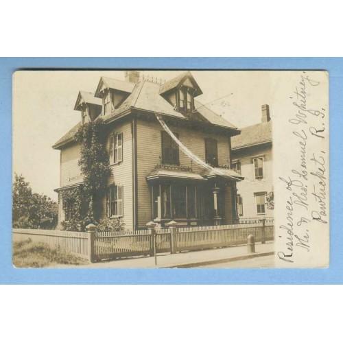 RI Pawtucket Residence Of Mr. & Mrs. Samuel Whitney Real Photo Post Card O~1172