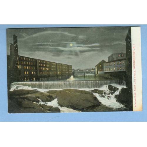 RI Woonsocket Blackstone River & Falls Moonlight View Large Water Falls w/~1184