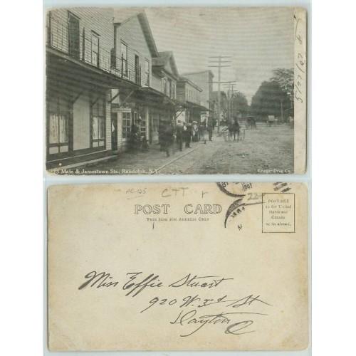 New York Randolph Main and Jamestown Sts Unpaved Road Horses and Wagons #3~125