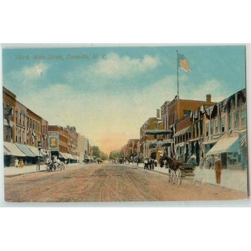 New York Dansville Main St Unpaved Road w/Old buildings Draped w/Patriotic~226
