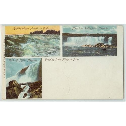 New York Niagara Falls 3 Small Views Of Niagara Falls Private Mailing Card~257