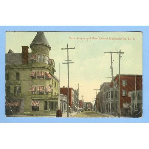 New York Mechanicville Park Ave and Hotel Leland Street Scene w/Unpaved Ro~305