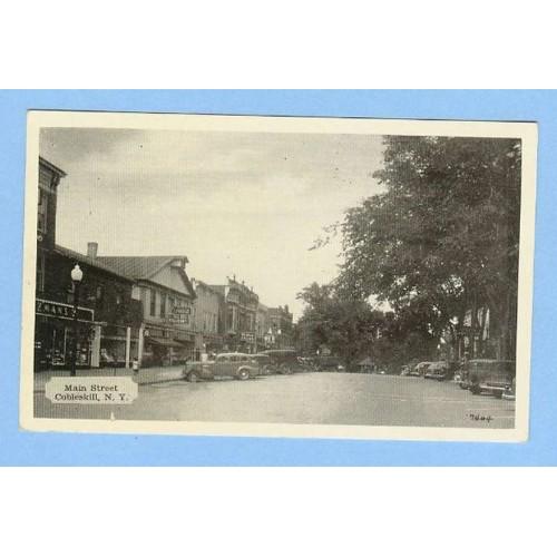New York Cobleskill Main St Photo Type Street Scene w/Old Buildings Old Ca~315