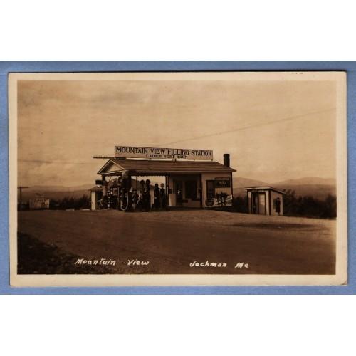 ME Jackman Real Photo Postcard RPPC Mountain View Filling Station Moxie me~36