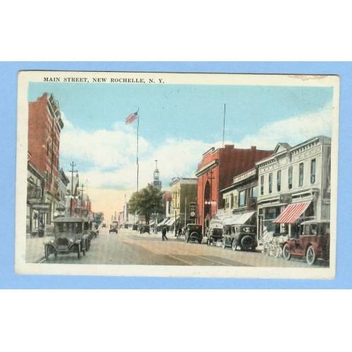 New York New Rochelle Main St Street Scene w/Old Buildings Old Cars Horses~406
