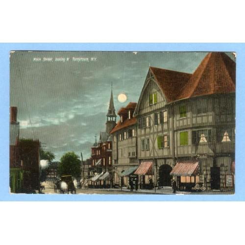 New York Tarrytown Main St Looking West Street Scene at Night w/Old Buildi~415