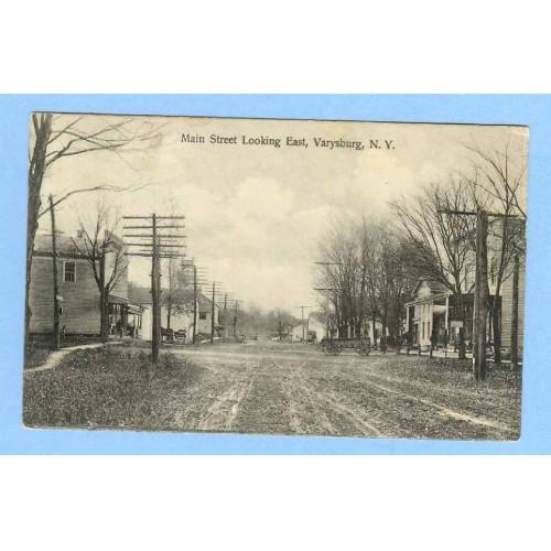 New York Varysburg Main St Looking East Unpaved road w/Old Buildings Old C~416