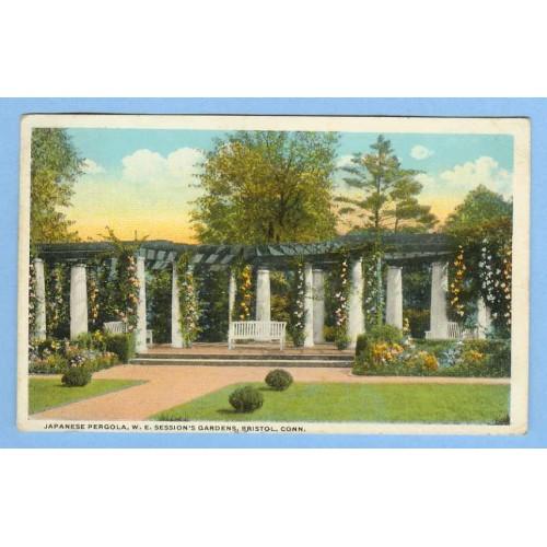 CT Bristol Japanese Pergola W E Sessions Gardens View of Flower Draped Col~442