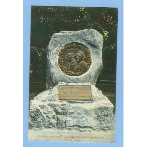 CT Litchfield Henry Ward Beecher and Harriet Beecher Stowe Memorial View O~512