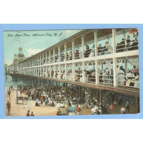 NJ Atlantic City The Steel Pier View Of Steel Pier w/People Seated At Tabl~746
