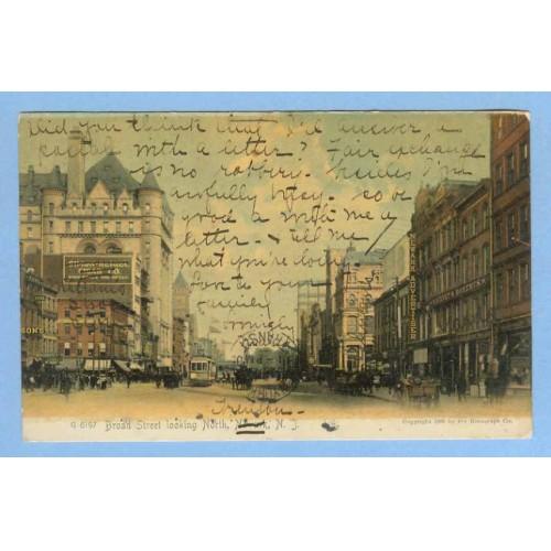 NJ Newark Broad St Looking North Street Scene View w/Old Buildings Trolley~782