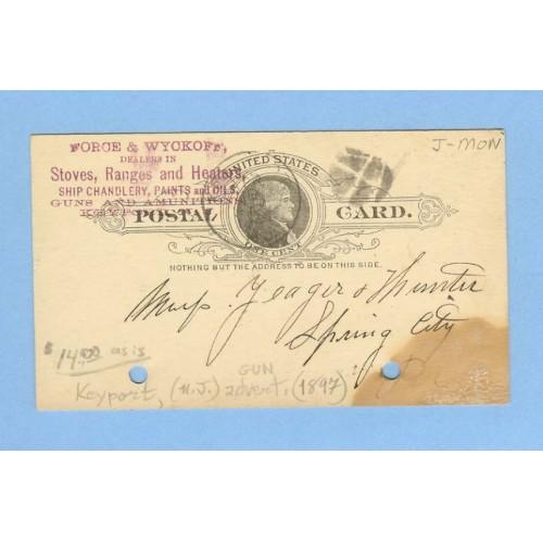 NJ Keyport Penny Post Card Acknowledging Shipment Of Parts April 20 1897 ~841