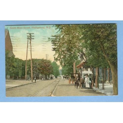 NJ Phillipsburg South Main St Tree Lined Street Scene View w/Trolley Track~878