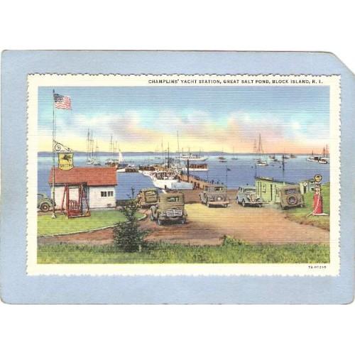 RI Block Island Champlain's Yacht Station Great Salt Pond w/Old Cars & Old~121