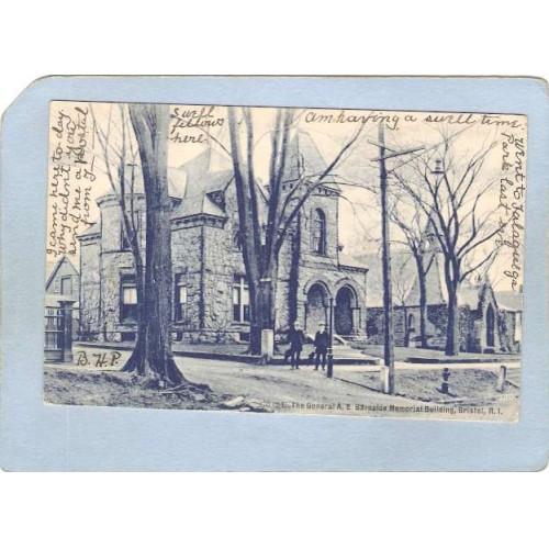 RI Bristol The General A E Burnside Memorial Building Street Scene Undivid~168