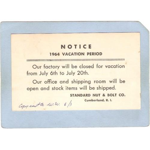 RI Cumberland Notice 1964 Vacation Standard Nut & Bolt Co Cumberland RI ~328