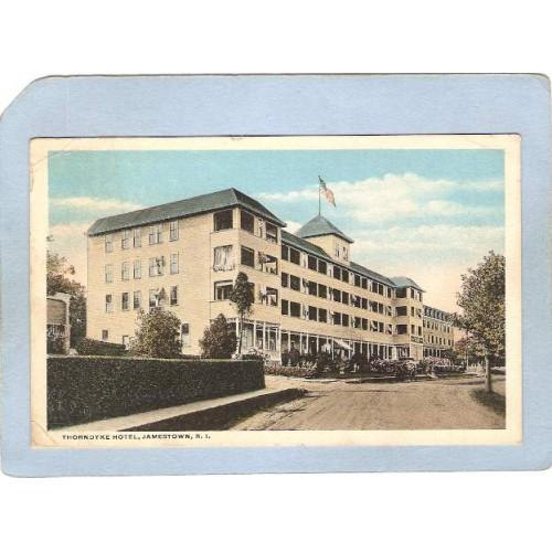 RI Jamestown Thorndyke Hotel Street Scene w/Horse & Wagon ri_box2~542