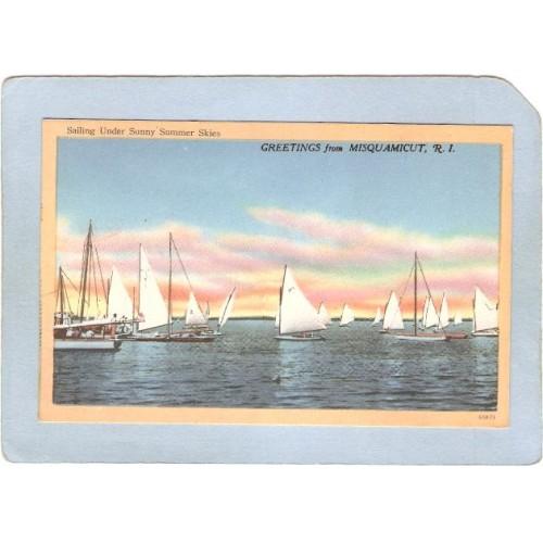 RI Misquamicut Greetings From Misquamicut RI Sailing Under Sunny Summer Sk~705