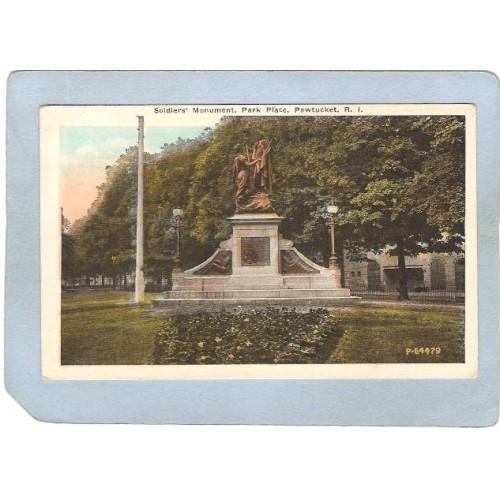 RI Pawtucket Postcard Soldier's Monument Park Place ri_box3~1014