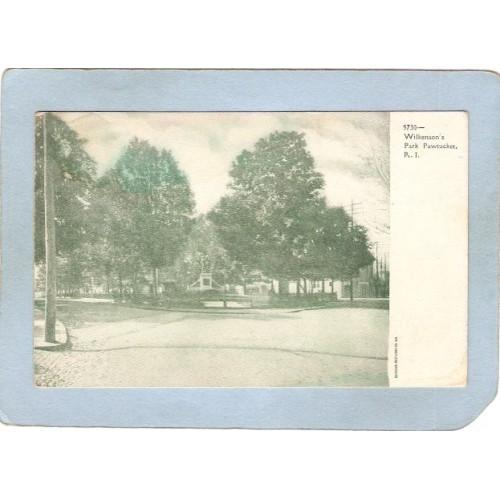RI Pawtucket Postcard Wilkinson Park Street Scene Intersection ri_box3~1021