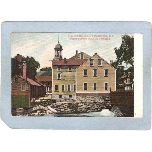 RI Pawtucket Postcard Old Slater Mill First Cotton Mill In America ri_b~1032