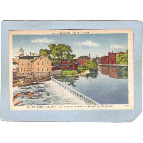 RI Pawtucket Postcard Old Slater Mill Blackstone River ri_box3~1033