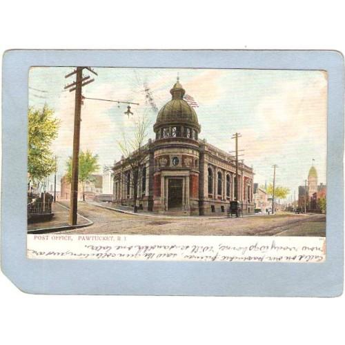 RI Pawtucket Postcard Post Office Street Scene Intersection w/Horses & Wag~1062