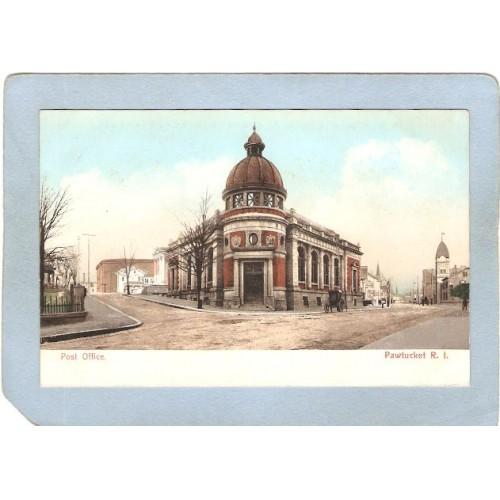 RI Pawtucket Postcard Post Office Street Scene Intersection w/Horses & Wag~1064