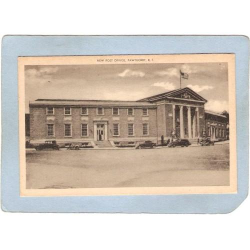 RI Pawtucket Postcard New Post Office Street Scene Intersection w/Old Cars~1067