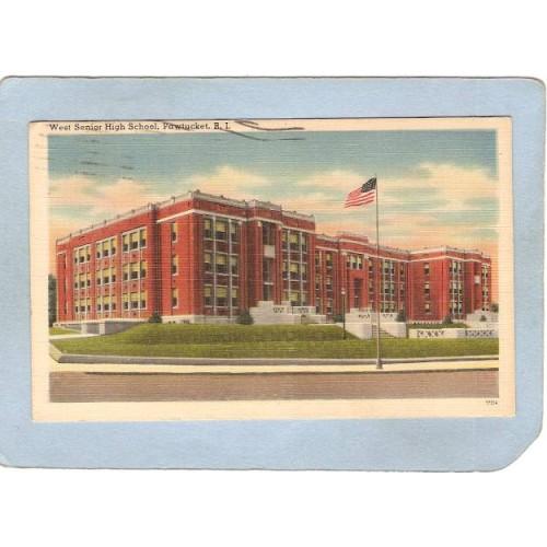 RI Pawtucket Postcard West Senior High School ri_box3~1071