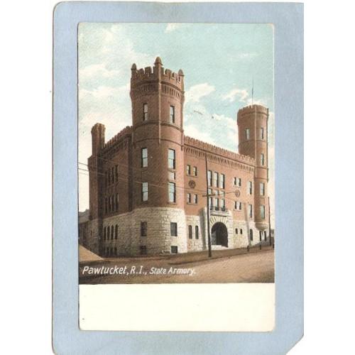RI Pawtucket Postcard State Armory Street Scene ri_box3~1092