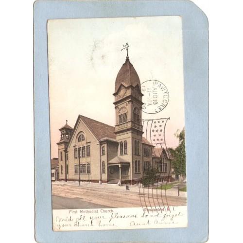 RI Pawtucket Postcard First Methodist Church Street Scene Undivided Back ~1101