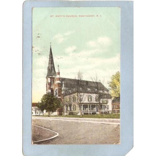 RI Pawtucket Postcard St Mary's Church Street Scene ri_box3~1108